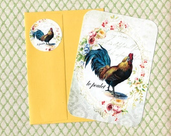 Note Cards, French Rooster, Antique Farm House, Rooster Cards, Stickers, Gift Idea