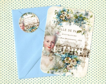 Note Cards, Marie Antoinette, French, Blank Cards, French Style, Marie Note Cards, Stickers