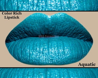 Turquoise Color Rich Lipstick Semi-Matte -Aquatic