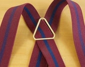 Vintage Mens CAS Burgundy with blue stripes Clip on Suspenders