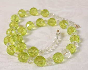 Vintage Clear Glass and Grean Faceted Bead Necklace
