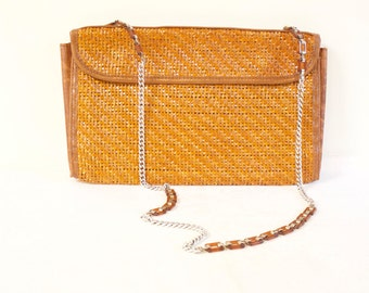 Vintage  1970s Pier Giorgio Italian made natural woven straw purse with silver and strap, front flap closure
