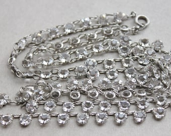 Antique Diamond Paste Sterling Necklace / Gatsby Wedding  / Art Deco Flapper Jewelry / Open Backed Paste Riviere
