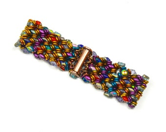 Woven Boho, Jewel Tones, Women's Gifts, Fall Collection, Glass Beaded,  Wrap Bracelet,