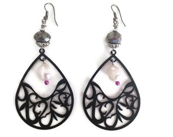 ON SALE Black Filagree Drop Chandelier Earrings with Freshwater Pearls and Dark Silver Crystals