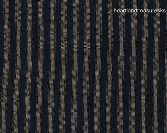 Dunroven House H-27 Style Primitive Homespun Navy Blue Stripe Fabric   1/2 Yard Cut Off The Bolt