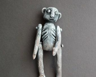 Waffling Walter -  Paper Mache - OOAK Art Doll - One of a Kind Spooky Guy - Wall Hanging