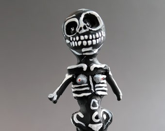 Cemetery Folk Artwork - Skeleton Girl Figurine - Halloween - SALE