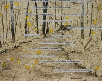 Shakespeare Sonnet 73- Watercolor Mixed Media Collage-  Donation- Bare Ruined Choirs- Tree, Woods, Gold Leaves- 15x22-  Horizontal