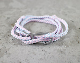 Cord Tiga - pale pink & light blue cotton candy nylon cord wrap bracelet with clasp, adjustable size