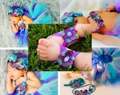 Baby Girl Barefoot Sandals, Under the Sea Purple Turquoise Hydrangea Flower Stretchy Elastic, First Birthday Outfit Mermaid Costume, Newborn