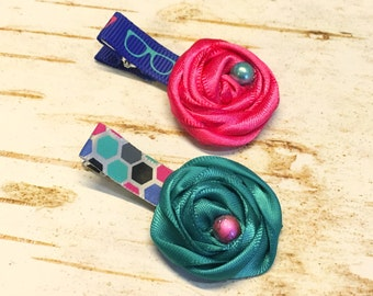 Baby Girl Rosette Hair Clip Set, Fabric flowers w beads for Little Girls, Geek Glasses, Hot Pink, Teal, Navy Blue, Modern, Little Toddler