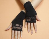 Short Retro Fingerless Gloves with Lace 80's Thin Rockabilly Armwarmers Mittens Retro Arm warmers Cyber Gothic Boho Palm covers Armstulpen