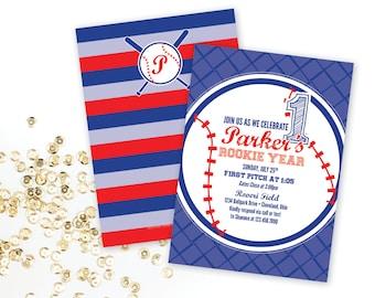 Rookie Year Baseball Birthday Party Invitation
