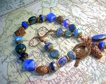 Picasso & Copper All Blue Bead Bracelet With Czech And Gemstone Beads With Matching Earrings