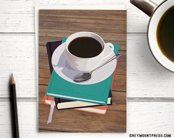 Coffee greeting card: card for booklovers. Card with coffee cup and book stack.