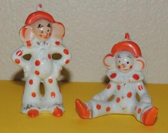 2 Japan Big Ear Clown Figurines