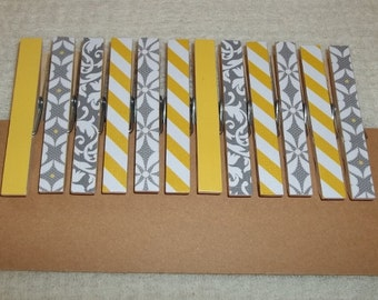 Decorative clothespins in grey and yellow-set of 12---doublesided