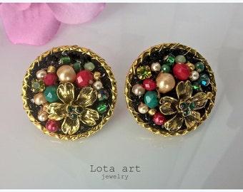 Handmade clip on earrings- glass beads- perfect gift