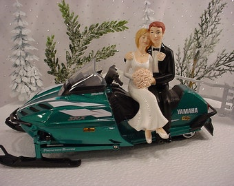 Wedding Cake Topper Snowmobile Silhouette