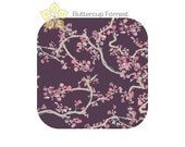 Crib Sheet { Enchanted Leaves in Plum Wonderland Collection } purple pink gray branches cherry blossoms