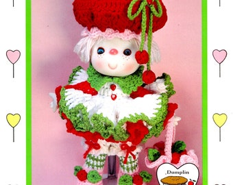 Cherries Jubilee Crocheted 14 Inch Soft Body Doll Ruffled Dress Red Puffy Hat Pink Shoes Flower Green Leaves  Craft Pattern Leaflet CDC405
