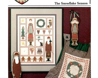Snowflake Season Christmas Country Fok Art Santa Claus Angel Wreath Hearts Counted Cross Stitch Embroidery Craft Pattern Leaflet AC-93