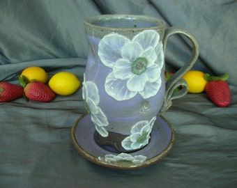 Ceramic Teacup and Saucer with Poppy Flowers in Lavender and Black Mountain - Large Cup