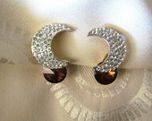 Vintage Pave Crystal Crescent Moon & Smoky Topaz Rivoli Clip Earrings