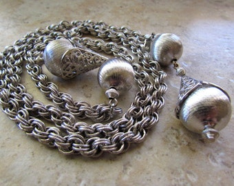 Vintage 60s Monet Silver Tone Lariat Bolero Necklace