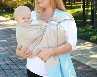 Baby Sling Linen Banded Ring Sling Baby Carrier- Sand & Sky - Linen Fabric Helps Keep You Cool While Summer Babywearing - Easy Breastfeeding