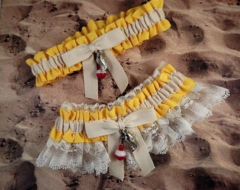 Fishing Daffodil Yellow Linen Look Ivory Twill Ivory Lace Fish Bobber Charm Wedding Bridal Garter Toss Set
