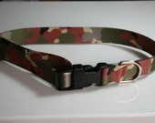 Large dog collar 1 inch polyester webbing camo pattern