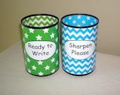 Lime and Turquoise Stars and Chevron Pencil Holder Set, Desk Accessories, Classroom Organization, Teacher Supplies, Teacher Gift - 985
