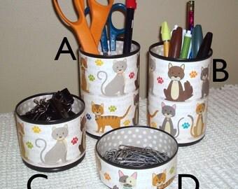 Cat Desk Accessory Set, Kitten Pencil Holder, Cats Desk Organizer, Animal Office Decor, Gift for Cat Lover - Dorm Decor - 746