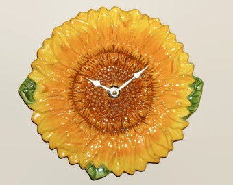 Sunflower Wall Clock 9-1/2 Inches, Ceramic Plate Clock, Yellow Clock, Sunflower Home Decor, Sunflower Wall Decor, Unique Wall Clock - 2085