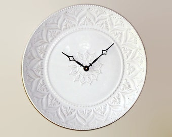 Whitewash Lacy Wall Clock SILENT - 11 Inches, Kitchen Wall Clock, Stoneware Plate Clock, Unique Wall Clock - 2128