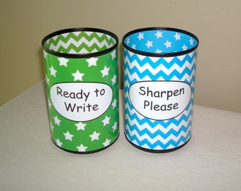 Lime and Turquoise Stars and Chevron Pencil Holder Set, Desk Accessories, Classroom Organization, Teacher Supplies, Teacher Gift - 955