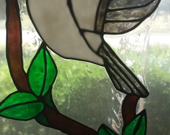 Black and White Bird On Branch Stained Glass Cling