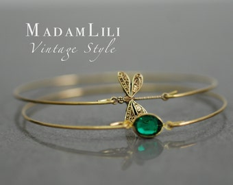 DRAGONFLY Two Brass Bracelet