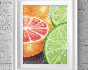 Citrus Fruit Still Life Impressionist Painting Print