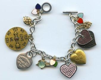 Valentine Heart Charm Bracelet Made With Flea Market Treasures
