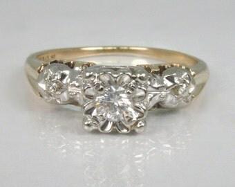 Vintage Diamond Engagement Ring - Three Stone - 0.14 Carats