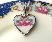 Broken china jewelry heart pendant necklace fancy antique china pink rose on turquoise blue