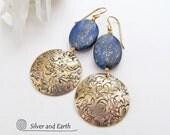 Lapis Earrings, Brass Earrings, Blue & Gold Earrings, Lapis Lazuli Jewelry, Gold Dangle Earrings, Blue Earrings, Handmade Artisan Jewelry