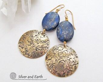 Lapis Earrings, Brass Earrings, Blue and Gold Earrings, Lapis Lazuli Jewelry, Gold Dangle Earrings, Blue Earrings, Handmade Artisan Jewelry