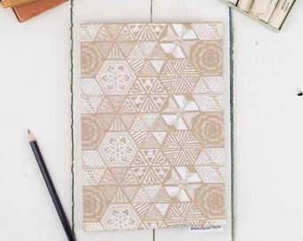 A5 Fabric Sketchbook, Hexie Doodle Taupe hand drawn pattern design, suitable for watercolour