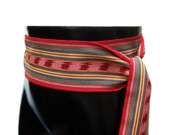 Red Rainbow Belt SA09 - Woven Ethnic Sash - Boho Accessories - Guatemalan Textiles - Ikat Fabric Sash - Red Sash Belt - Reenactment Clothing