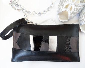 Black leather wristlet, black and silver statement bag, black leather clutch, black glitter bag
