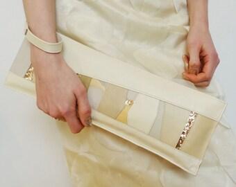 Cream clutch bag, neutral leather wristlet, nude wristlet bag, gold glitter bag, cream & gold